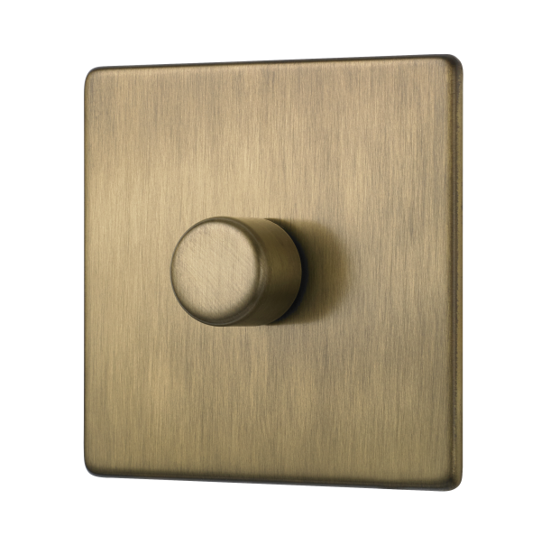 Penthouse single 120W LED dimmer switch in burnished brass
