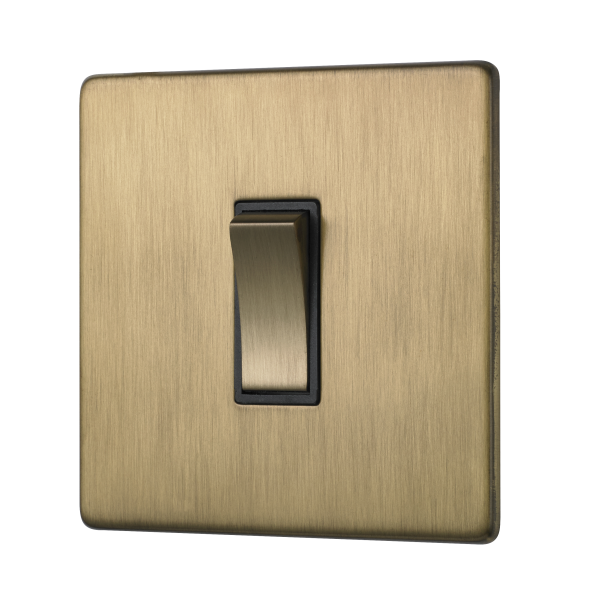 Penthouse single 2-way rocker switch in Burnished Brass