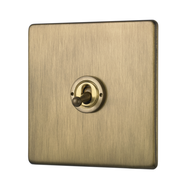 Penthouse single 2-way toggle switch in burnished brass