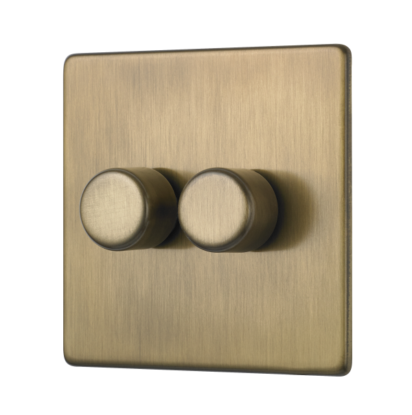 Penthouse two gang dimmer light switch in gold finish