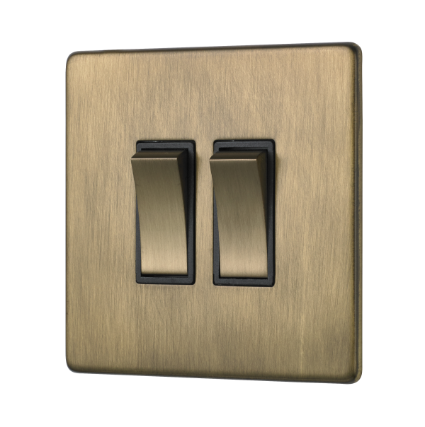 Penthouse double 2-way rocker switch in Burnished Brass