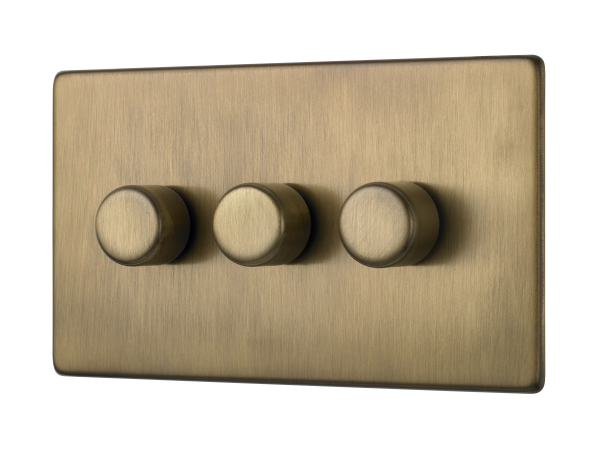 Penthouse triple 120W LED dimmer switch in burnished brass