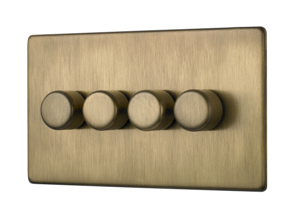 Penthouse quad 120W LED dimmer switch in burnished brass