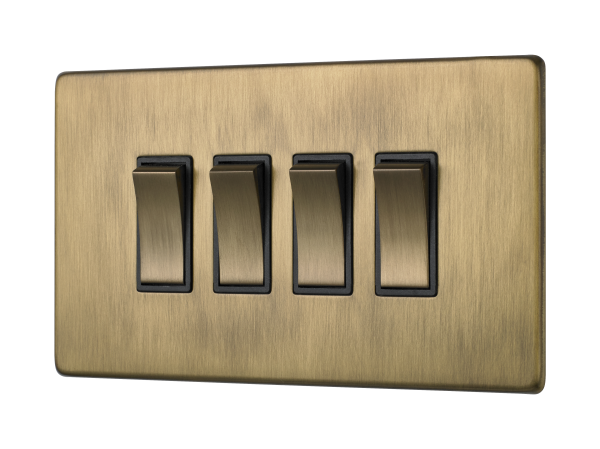 Penthouse quad 2-way rocker switch in burnished brass