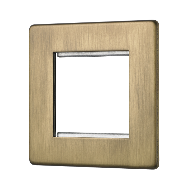 Penthouse double Euromod plate in Burnished Brass