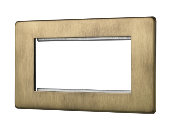 Penthouse quad Euromod plate in burnished brass