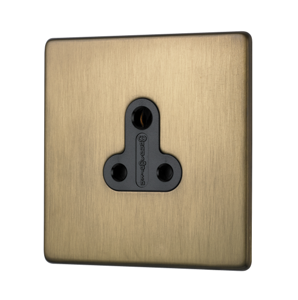 Penthouse 5 AMP unswitched socket in burnished brass