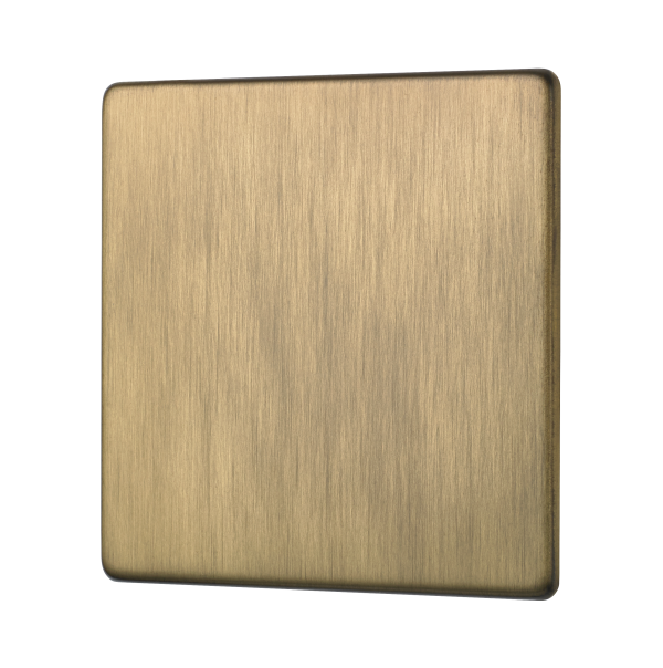 Penthouse Single Blank Plate in Burnished Brass