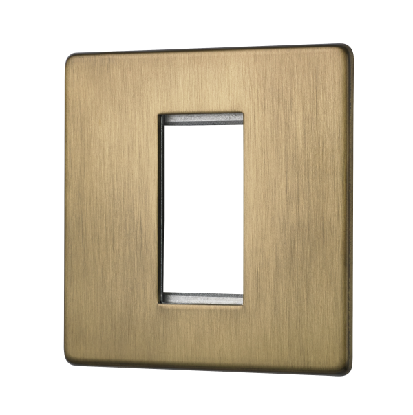 Penthouse single Euromod plate in burnished brass
