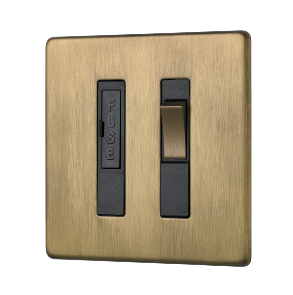 Penthouse switched fused connection unit in burnished brass