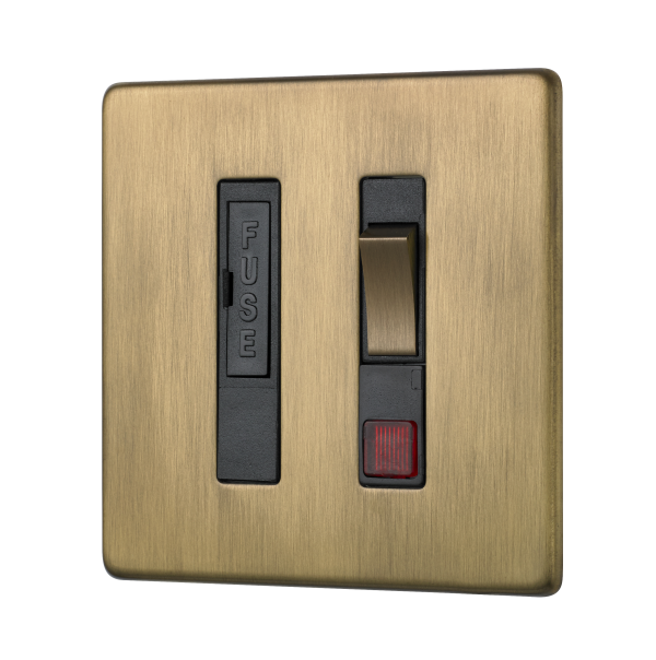 Penthouse switched fused connection unit with neon indicator in burnished brass