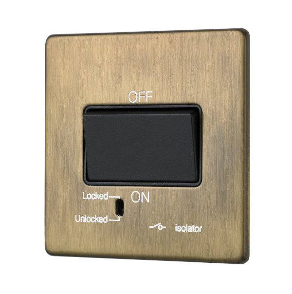 Penthouse fan isolator switch in burnished brass