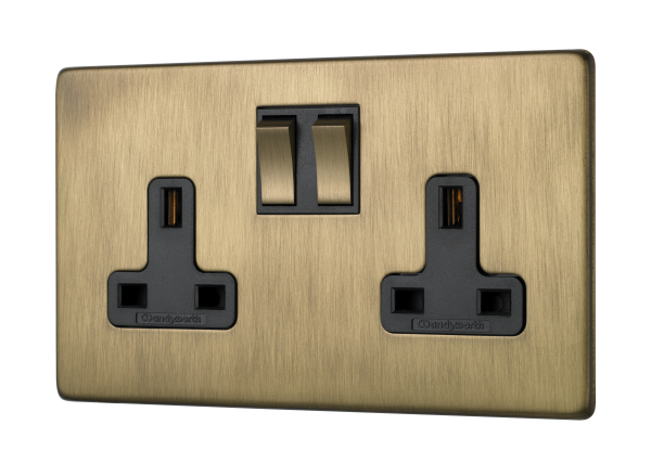 Penthouse twin switched socket in burnished brass