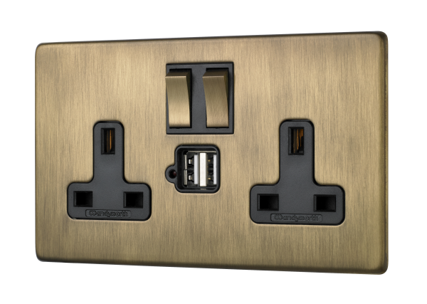 Penthouse twin switched socket with twin USB in burnished brass