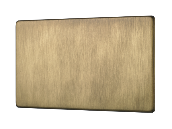 Penthouse double blank plate in Burnished Brass