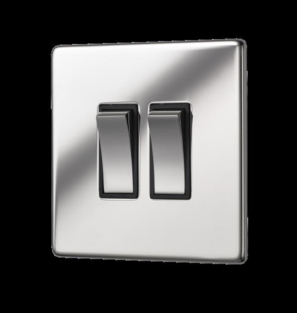 Penthouse double 2-way rocker switch in bright nickel