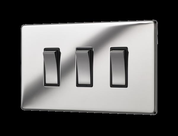 Penthouse triple 2 way rocker switch in bright nickel