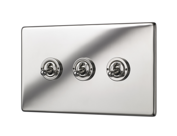 Penthouse triple 2-way toggle switch in bright nickel