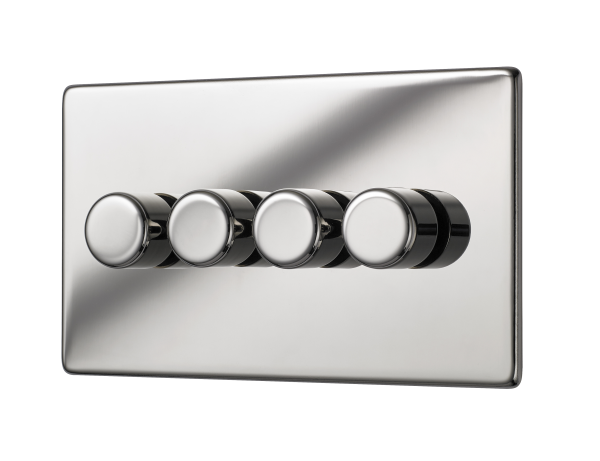 Penthouse quad dimmer switch 120W in bright nickel