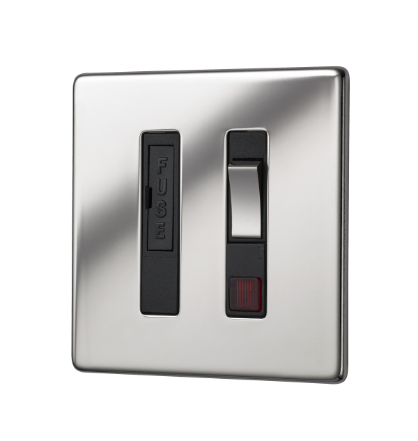 Penthouse switched fused connection unit with neon indicator in bright nickel