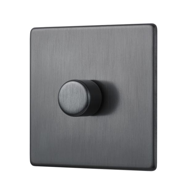 Dimmer switch in black finish.