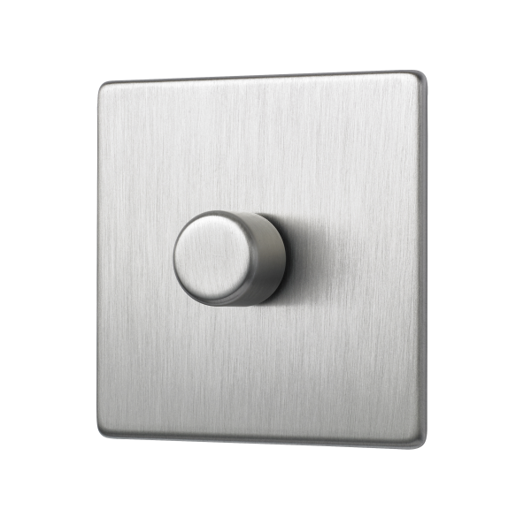 Penthouse single 120W LED dimmer switch in satin nickel