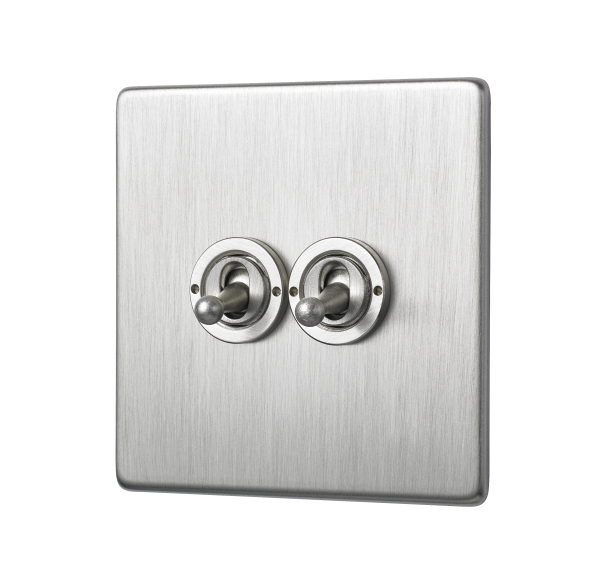 Penthouse Double 2-way toggle switch in satin nickel