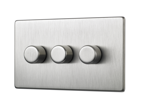 Penthouse Triple 120W LED dimmer switch in satin nickel