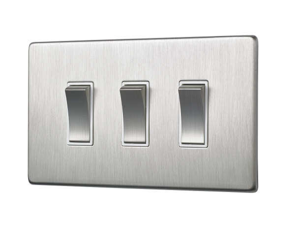 Penthouse Triple 2-way rocker switch in Satin Nickel