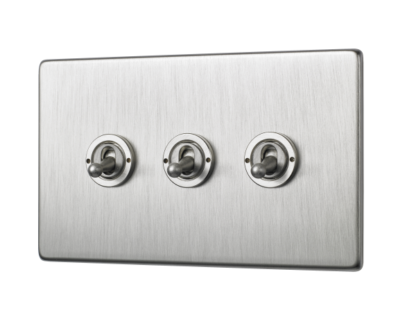 Penthouse Triple 2-way toggle switch in satin nickel