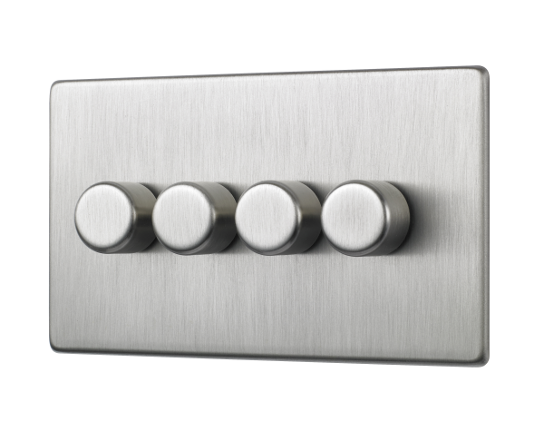Penthouse quad 120W LED dimmer switch in satin nickel