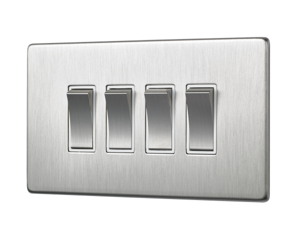 Penthouse quad 2-way rocker switch in satin nickel