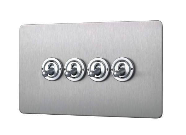 Penthouse Quad 2-way toggle switch in satin nickel
