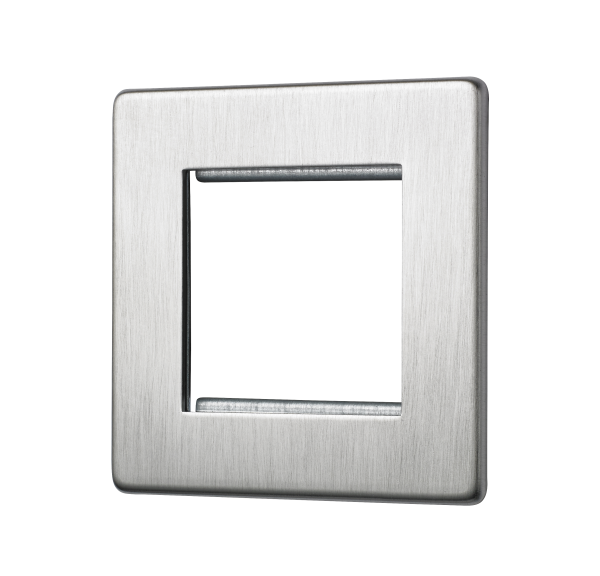 Penthouse double Euromod plate in Satin Nickel