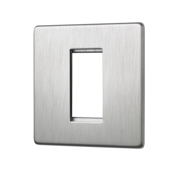 Penthouse single euromod plate in satin nickel