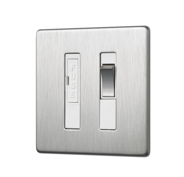 Penthouse switched fused connection unit in satin nickel