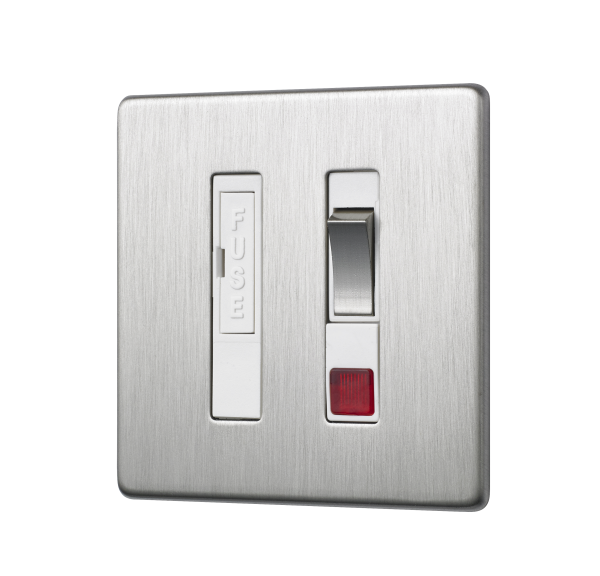 Penthouse Switched Fused Connection Unit with Neon Indicator in Satin Nickel