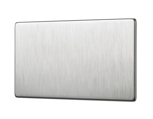 Penthouse double blank plate in satin nickel