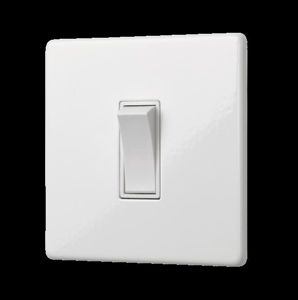 Penthouse Single 2 Way Rocker Switch in White