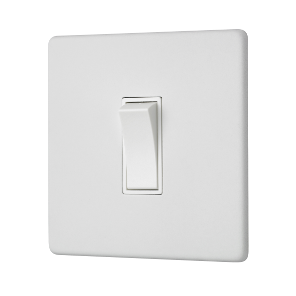 Penthouse Single 2 Way Rocker Switch in White Etched Prime