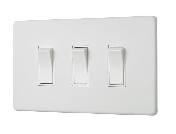 Penthouse triple 2-way rocker switch in white etched prime