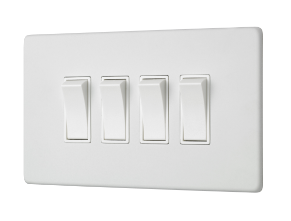 Penthouse quad 2-way rocker switch in white etched prime