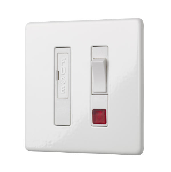 Penthouse switched fused connection unit with neon indicator in white