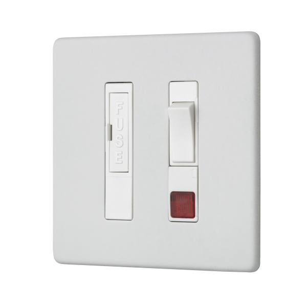 Penthouse switched fused connection unit with neon indicator in white etched prime