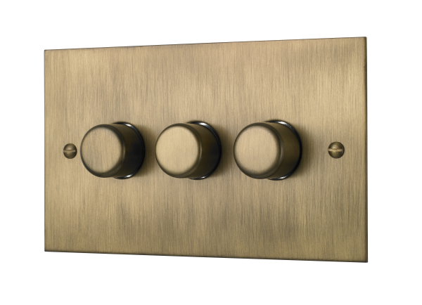Classic square edge triple 120W dimmer switch in burnished brass