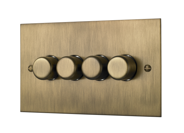 Classic square edge quad 120W LED dimmer switch in burnished brass