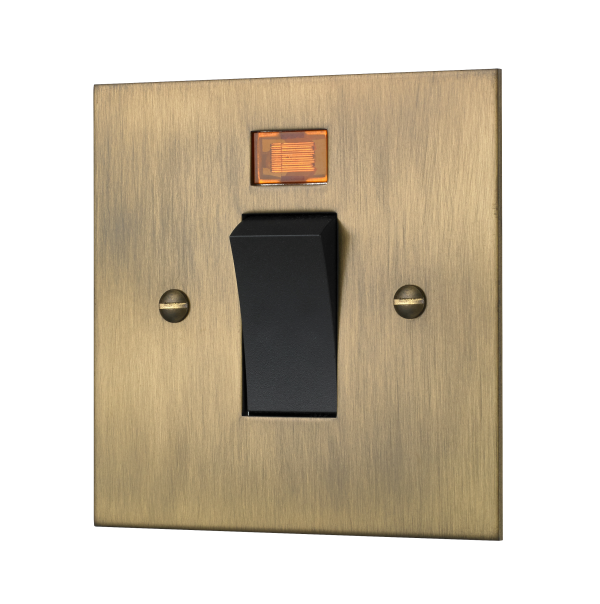 Classic square edge 45 AMP cooker switch in burnished brass