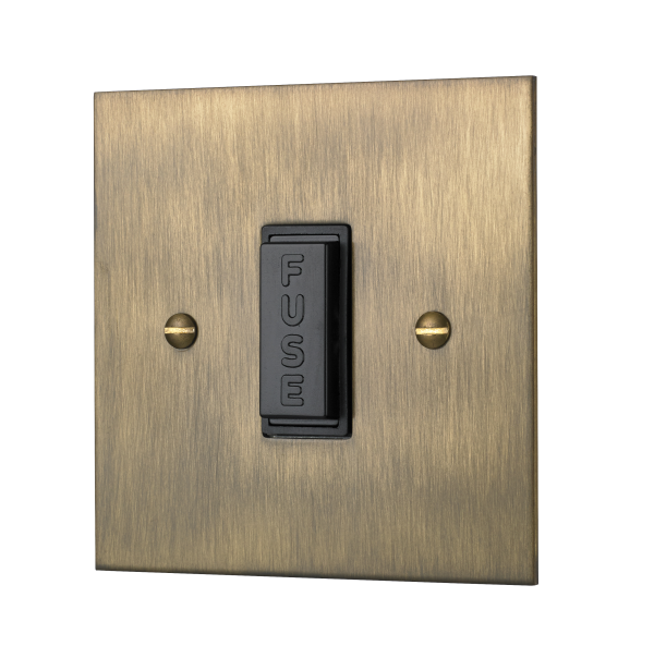 Classic square edge unswitched fused connection unit in burnished brass