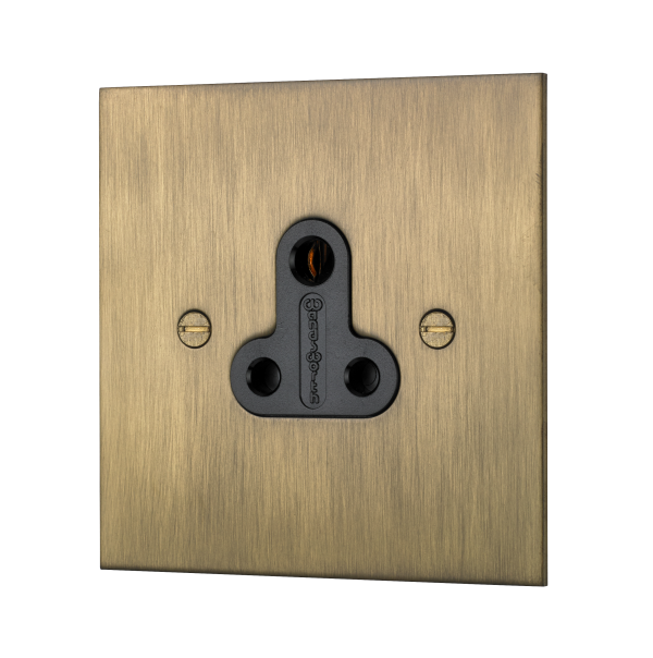 Classic square edge 5 AMP unswitched socket in burnished brass