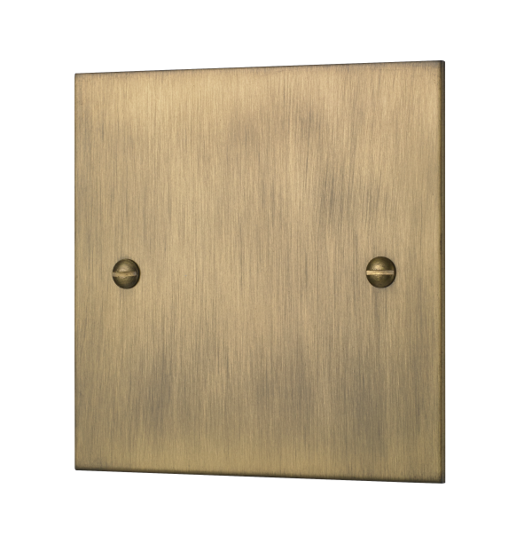 Classic square edge single blank plate in burnished brass